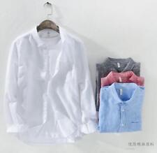 Mens Work 100% Linen Long Sleeve Boys Shirts Dress Shirts Tops Blouse Outwear