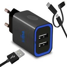 2 Port Chargeur Secteur Universel Adaptateur + Micro USB Câble Pour Tablette PC