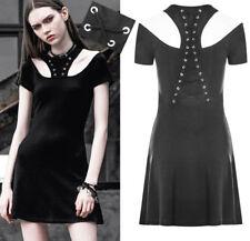 Robe courte gothique punk lolita burlesque collier laçages corset rivet PunkRave