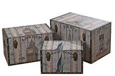 Aufbewahrungsbox London New York Paris Shabby Landhaus Holzkiste Box