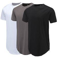 Curve Hem Men T-Shirt Side With Zipper Short Sleeve Men Long line Streetwear Top