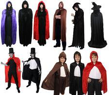 HOODED CAPE VELOUR HALLOWEEN LONG DELUXE VAMPIRE VELVET CAPES UNISEX CLOAK WITCH