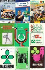 FRANCE v IRELAND RUGBY PROGRAMMES 1970 1972 1974 1976 1978 1980 1992 2010 2011