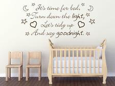 Il est temps pour lit, baissez le Mur Nurserie... Enfant Art Citation Autocollant Decal