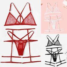 Women Adjustable Lace Bra Underwear Thong G-String Garter Set Sheer Lingeries DA