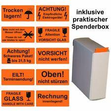 Aufkleber / Warnetiketten VORSICHT GLAS ZERBRECHLICH - 30x62 mm - inkl. Spender