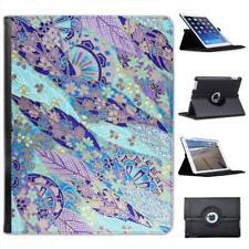 Japanese Grunge Fan Leaf Blue Purple Folio Wallet Leather Case For iPad 2, 3 & 4