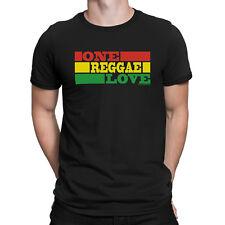 Mens T-Shirt ONE REGGAE LOVE Rasta Guitar Drum Band Jamaican Dance Music Novelty