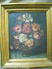Huile sur bois 18ème 19èmes sur panneau bois  bouquet de fleurs et papillon+++++
