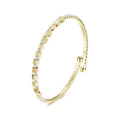 Silver of Gold luxury CZ Rhinestones Shiny Diamante Open Bangle Bracelet BB257