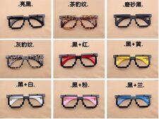 Retro 8-bit Old School Novelty Nerd Geek Gamer Mosaic 2-Tone Pixel Glasses Frame