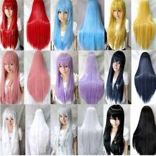 mujeres pelucas rectas largo Cosplay wig Traje Anime rubias Negro pelo completo