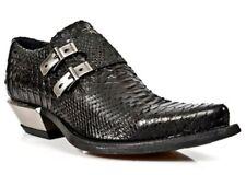 Newrock vintage da uomo nera in pelle stampa pitone tacco stivali eleganti in acciaio-m.7934-s2