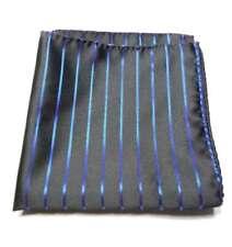 POCHETTE da taschino uomo per giacca nera a righe blu royal uomo made in italy