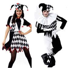Hallowen Funny Dress Suit Harlequin Jester Clown Circus Smart Costume & Hat -jsl