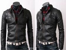 Vintage Biker Belted Rider Strap Pocket Fine Quality Slim Fit Leather Jacket
