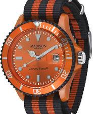 Armbanduhr Textil Nylongewebe Candy Time® Sailor U4616 MADISON Orange/Schwarz