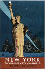 TX120 Vintage New York Wonder City America Travel Poster Re-Print A4