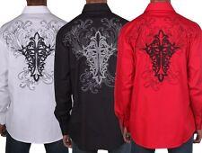 New Men's Stylish Casual Dress Shirt Long Sleeve Black / White SG42
