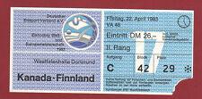Orig.Ticket     Eishockey WM Deutschland 1983    CANADA - FINNLAND  !!   SELTEN