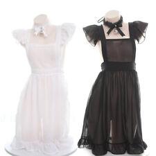 Lady Chiffon Sheer Apron Dress Choker Maid Outfit Ruffle Lolita Sexy Costume