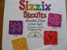 Sizzix Sizzlits DOODLE muore LOVE SET 4 immagini VALENTINE LOVE CUORI lettera NUOVO