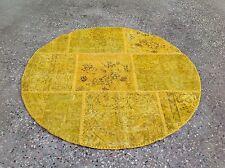 CUSTOM MADE yellow amber vintage Overdyed Handmade Turkish Patchwork Carpet rug