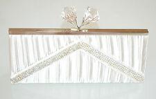 POCHETTE BIANCA borsello donna raso borsa sposa strass cristalli elegante  E140