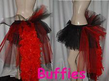 Ladies Tutu bustle Tulle & Feathers Fairy Burlesque dancer festival Black White