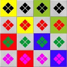 Diamond forma Wall Art o Piastrella Adesivi Molti Colori, 3 X Taglie-Impermeabile