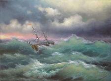 "223 - 5""x 7"" ORIGINAL CANVAS FINE ART PRINT MODERN SEASCAPE Ship Tropical Ocean"