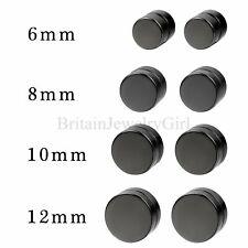 Men Women Unisex Black Circle Magnetic Stud Earrings Non-piercing Clip on