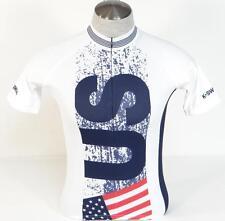 K-Swiss USA Kwick Dri White Red Blue 3/4 Zip Short Sleeve Cycling Jersey Mens