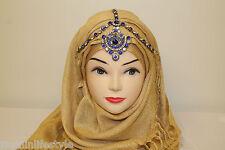 Ladies Diamante Hijab Matha Patti Tikka Head Piece Bridal Prom Costume Jewellery