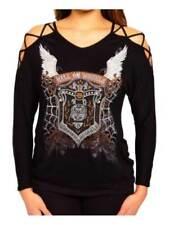 Harley-Davidson Women's Pure Hell Embellished Studded Long Sleeve Top, Black