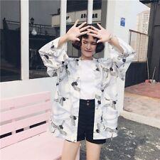 Lady Japanese Kimono Coat Loose Sunscreen Chiffon Jacket Outerwear Plus Vintage