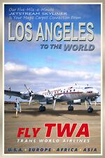 LOS ANGELES CA -TWA Constellation Airliner Retro Travel Poster - Art Print 095