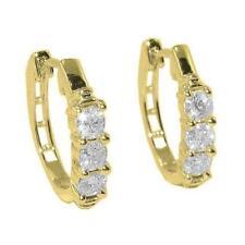 Hoop Huggies Earrings 1/2Ct Natural Diamond 14Kt Solid Gold 0.60Inch Prong Set