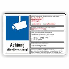Videoüberwachung dsgvo Schild Achtung Wunschtext videoüberwacht BDSG 01
