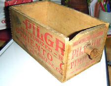 "antique wooden cheesebox Drawer ""Pilgrim Pimento Cheese"" fingerjointed corners-C"