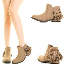 Taupe Fringe Tassel Low Flat Heel Cowboy Western Womens Short Ankle Boot Booties