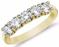 Diamond Wedding Ring band 0.75 Carat Round Cut 14k Yellow Gold Prong set 5 stone