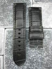 22mm Black Gator Grain Deployment Leather Strap Watch Band PAM 22 mm