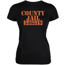 Halloween County Jail Inmate Costume Black Juniors Soft T-Shirt