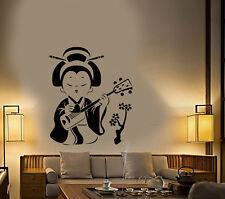 Vinyl Wall Decal Cartoon Japanese Girl Geisha Sakura Tree Stickers (2905ig)