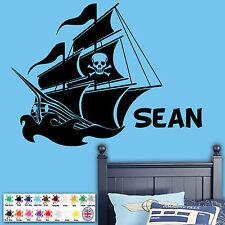 Barco Pirata Personalizados-Pared Adhesivo, Chicos Regalo de Navidad, etiqueta de vinilo