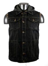 Denim Vest Jacket, New Men's Cool Jeans Denim Vest Jacket with Hoodies-Black