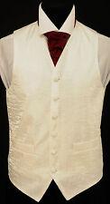 "W-85. Men's ivory white ""crushed"" fabric waistcoat - wedding, dress, suit,formal"