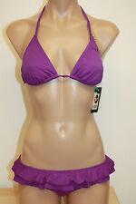 NWT Roxy Swimsuit Bikini 2pc Set  Purple Ruffle Pant
