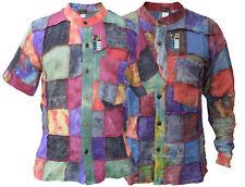 Patchwork Stonewashed Tie Dye Button Down Grandad Causal Summer Shirt Kurtas